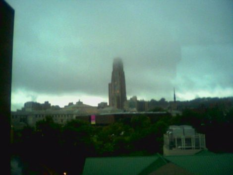 Cathedral of Learning in the clouds during a fairly nasty thunderstorm.