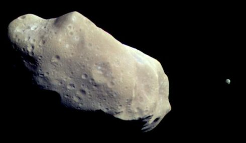 The asteroid 243 Ida and its moon Dactyl.  NASA image: public domain.