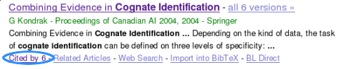 Google Scholar example of number of citations