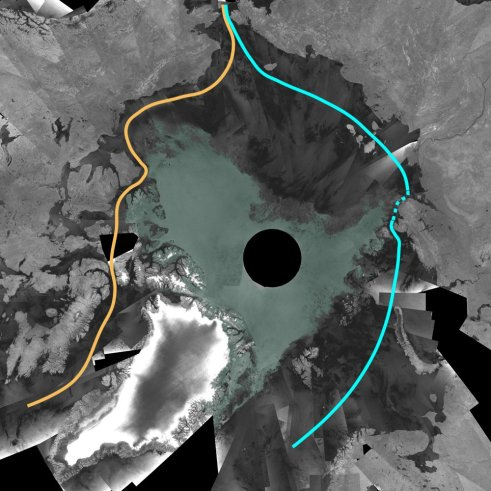 The Northwest Passage has opened up this summer (yellow)  Credits: ESA