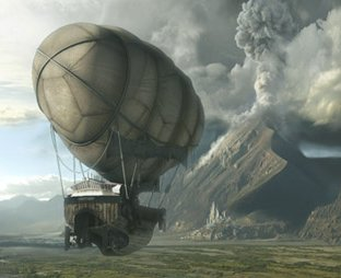 Airship with balloon approaching volcano -- zeppelin -- credit: David Edwards