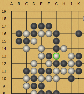 Two snapback symmetries in a game of Go.