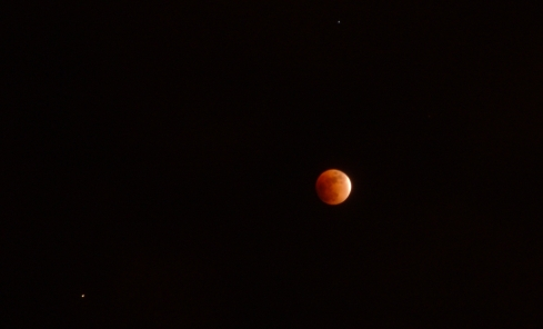 Total lunar eclipse from February 20, 2008.  A sliver is still exposed to the sun.