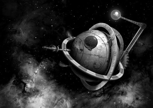 Steampunk version of the Death Star from Star Wars