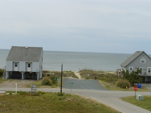 View of Oak Island beach from our beach house