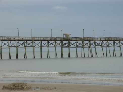 View of a private pier on Oak Island, NC -- aka a crime against humanity