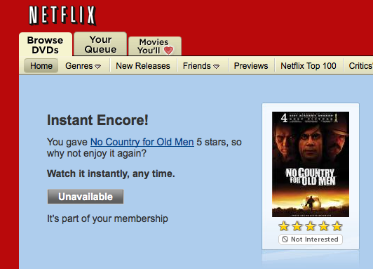 Netflix user interface fail.