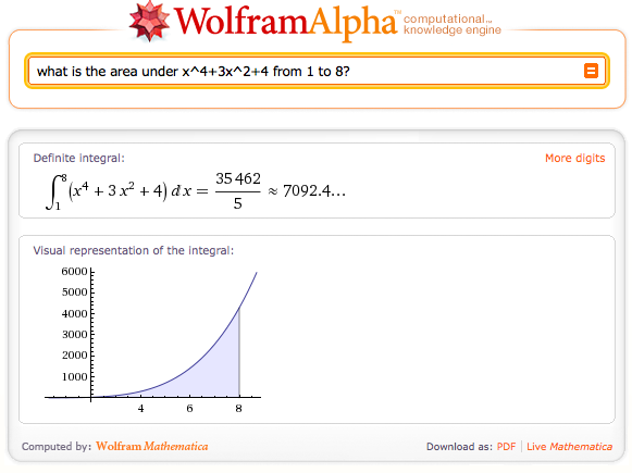 Wolfram|Alpha sample results