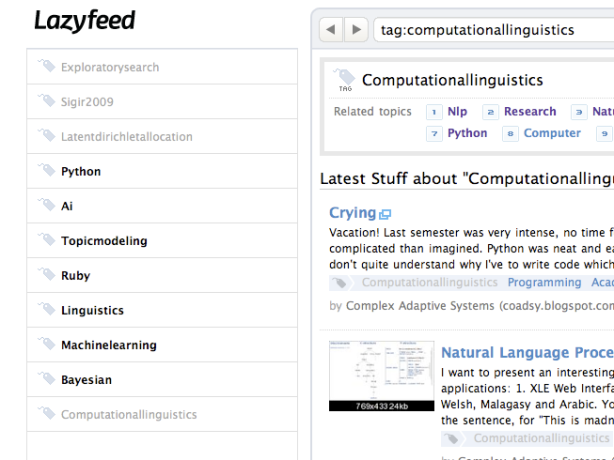 My lazyfeed topics
